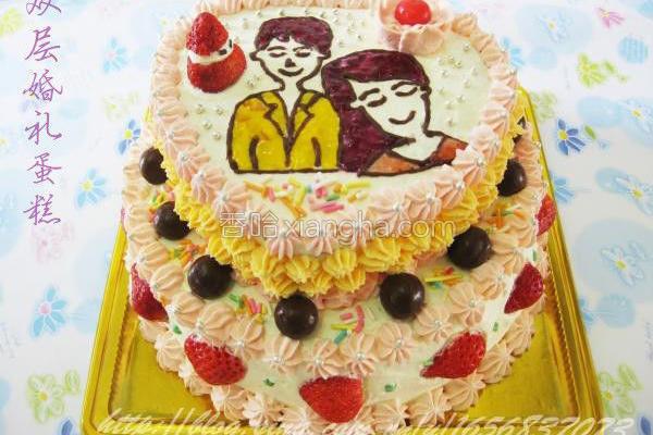 双层手绘婚礼蛋糕
