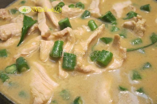 绿咖哩椰汁鸡的做法