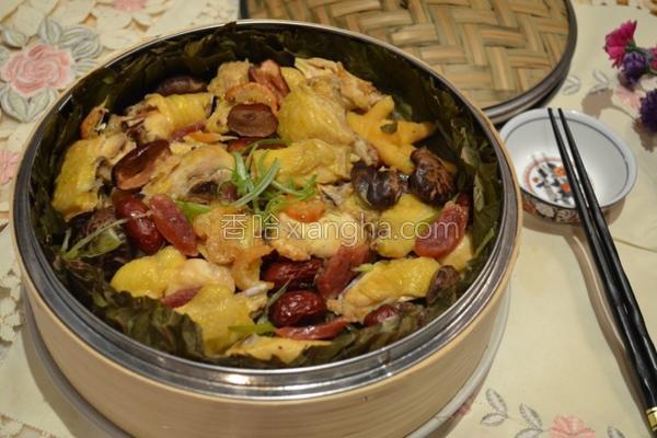 荷叶香菇蒸鸡的做法