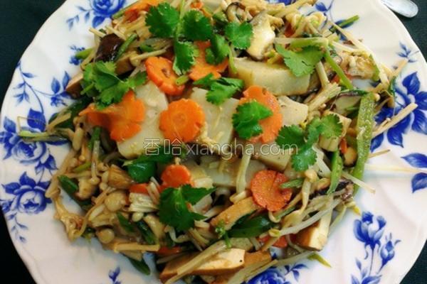 姜油蔬炒萝卜糕的做法