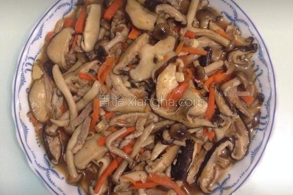 菇菇烩肉丝的做法