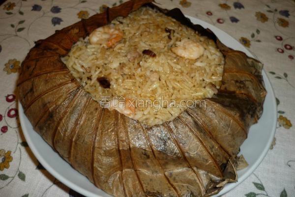 鲜虾荷叶饭的做法