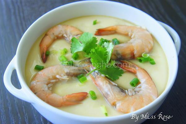鲜虾蒸蛋的做法