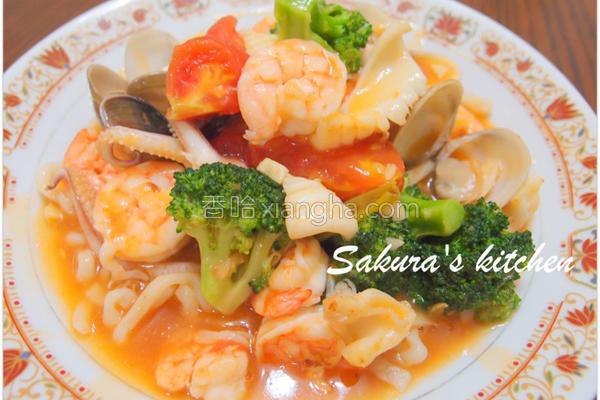 番茄海鲜拉面的做法