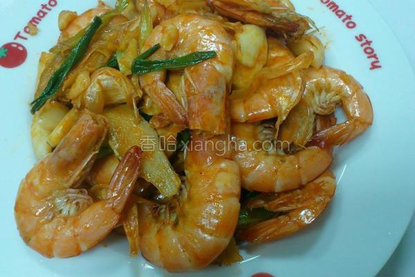 蒜头虾的做法