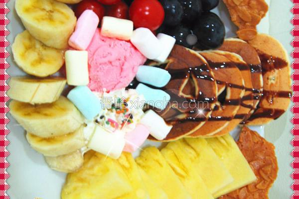 松饼水果拼盘的做法