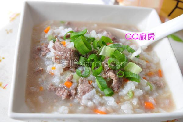 葱花牛肉炖粥的做法