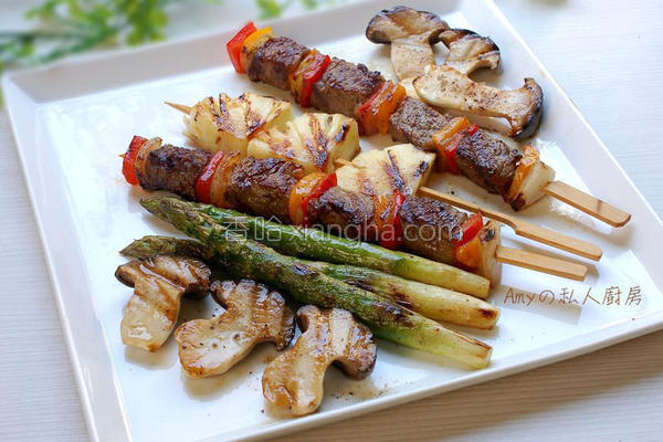 铁板牛肉时蔬串烧的做法