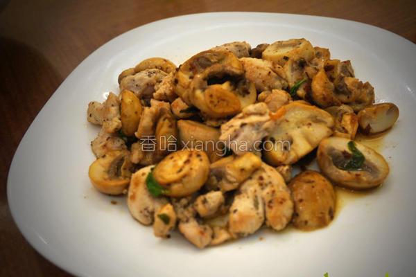 蒜片柠香蘑菇鸡丁的做法
