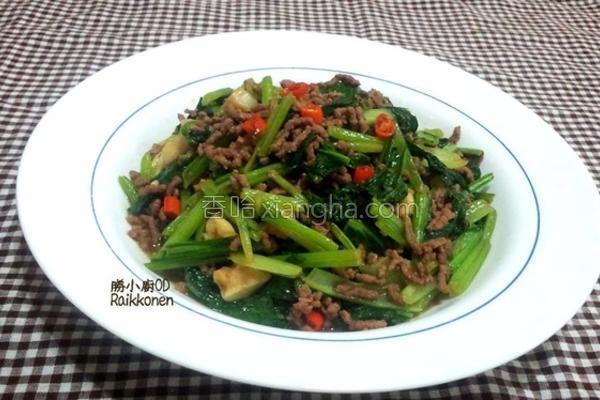 沙茶牛肉炒油菜的做法