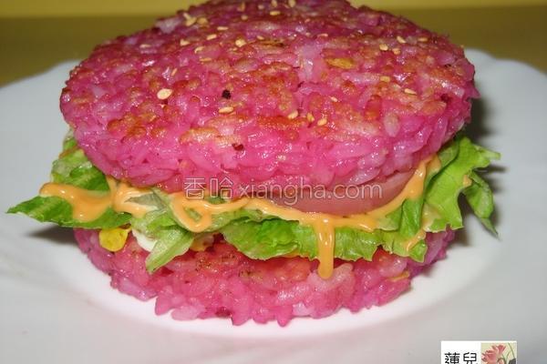 甜菜根泥米汉堡的做法