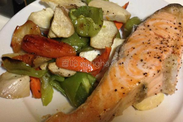 香烤蔬菜鲑鱼的做法