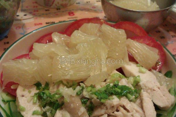 清爽凉拌柚子鸡肉的做法