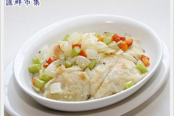 煎鱼片佐奶油蔬菜的做法