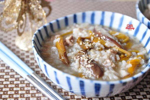 金针香菇肉末粥的做法