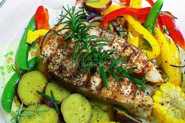 迷迭香鲜蔬鲑鱼的做法