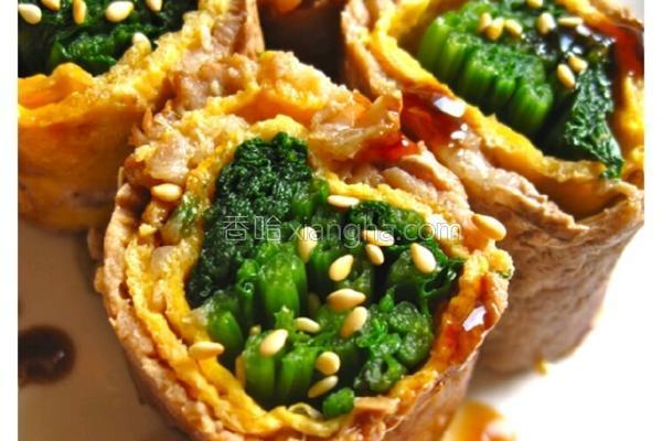 菠菜蛋皮猪肉卷的做法