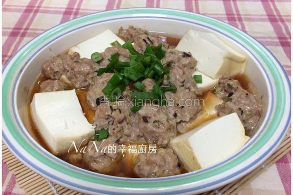 香菇肉丸蒸豆腐的做法