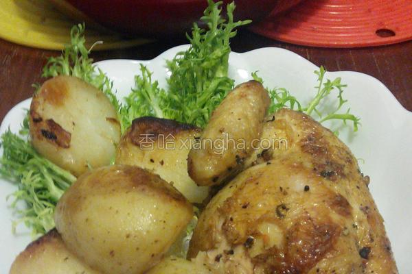 烤香草春鸡配新薯的做法