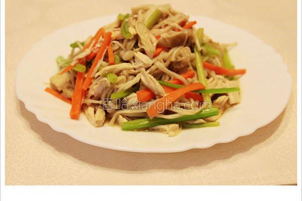 凉拌肉丝金针菇的做法