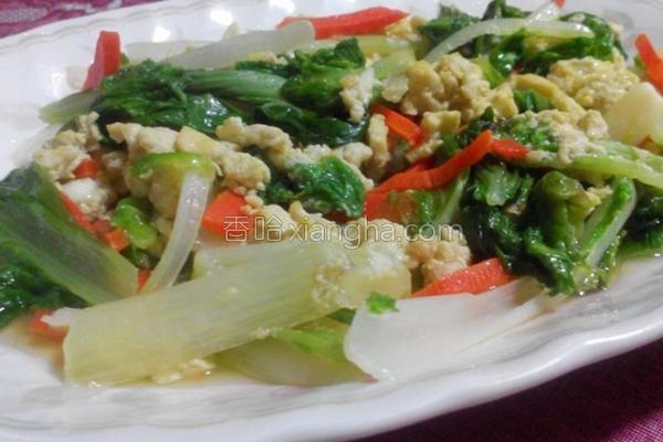 小白菜炒蛋的做法