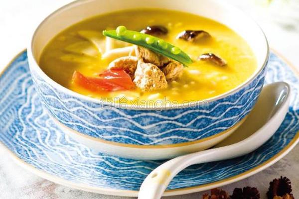 豆浆什菇小米粥的做法