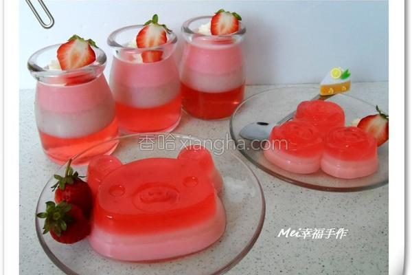 草莓炼奶三色果冻的做法