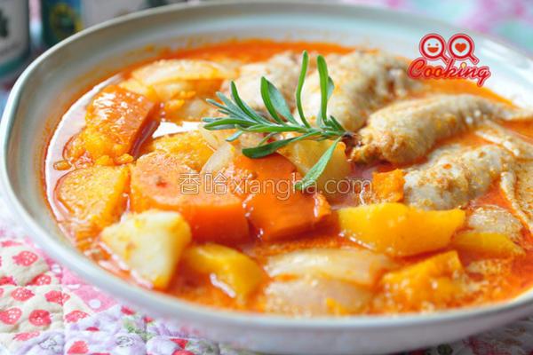 叻沙南瓜炖鸡的做法