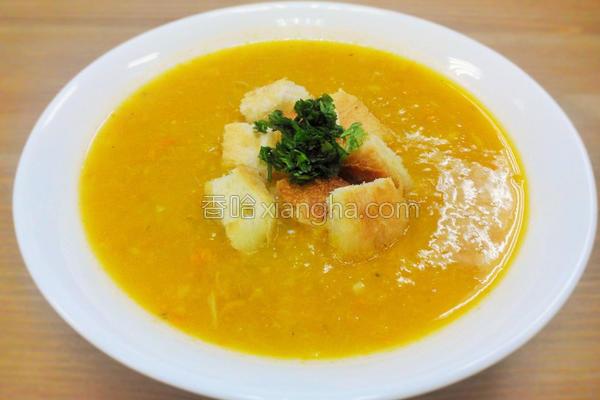 蟹肉南瓜浓汤的做法