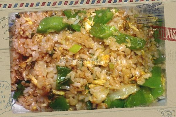 青椒肉丝蛋炒饭的做法