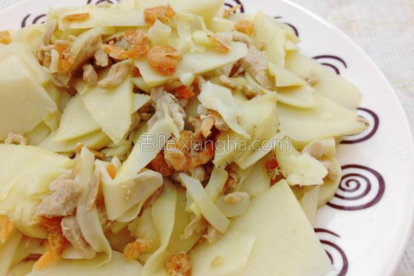 清炒虾米竹笋肉丝的做法