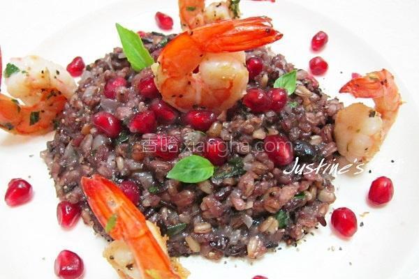 鲜虾黑谷米炖饭的做法