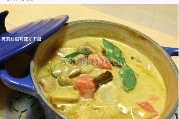 椰汁绿咖哩鸡的做法