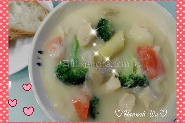 鸡肉蔬菜奶油浓汤的做法