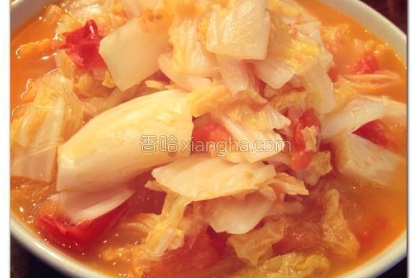 大白菜顿番茄的做法