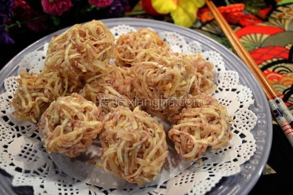 绣球炸芋虾的做法