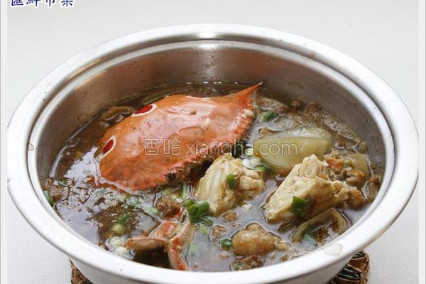 三点蟹肉酱煲的做法
