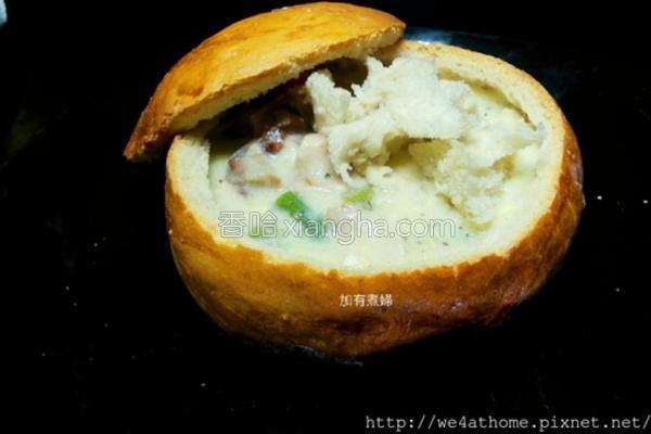 浓汤面包盅的做法