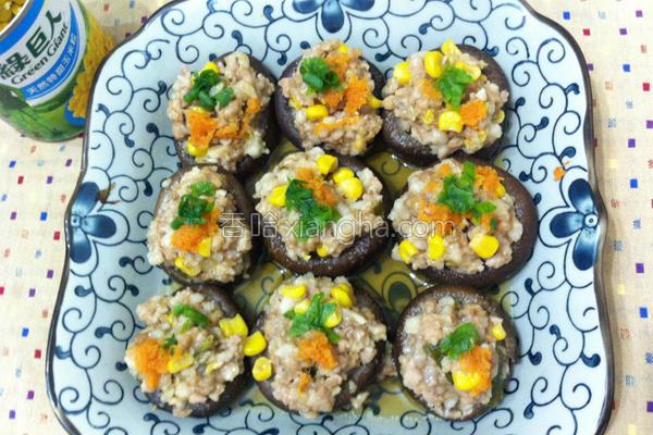 金黄玉米镶香菇的做法