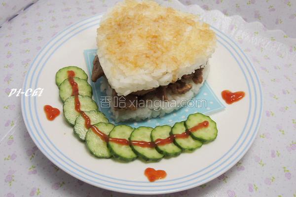 姜汁猪肉米汉堡的做法