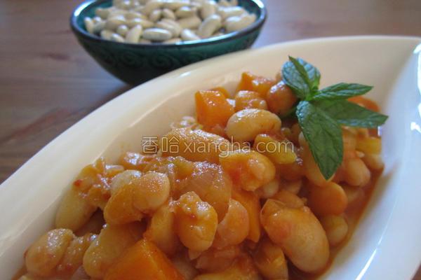 橄榄油茄汁白凤豆的做法