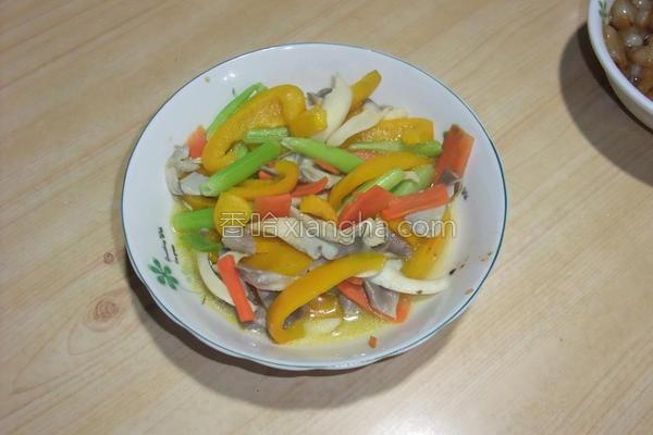 彩椒秀珍菇的做法