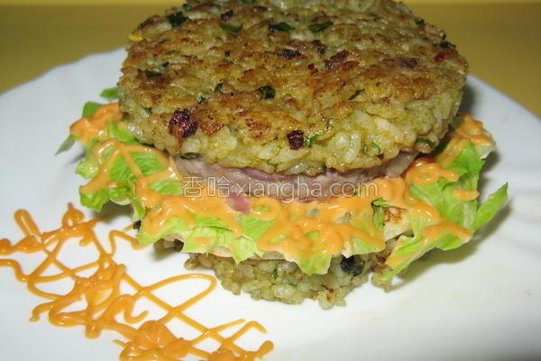 蔬菜泥米汉堡的做法