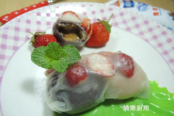 草莓汤圆卷的做法
