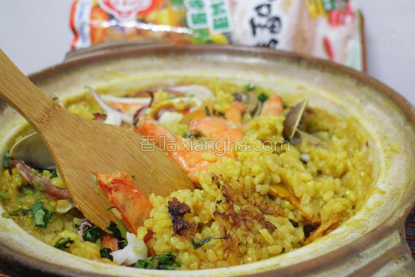 姜黄咖哩海鲜饭的做法