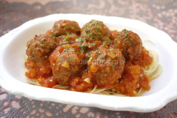 肉丸番茄意大利面的做法