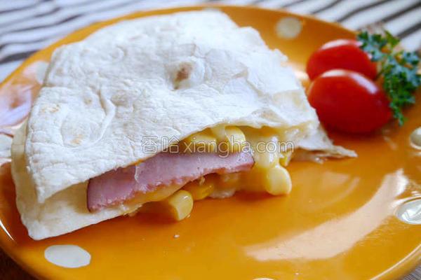 玉米火腿烤饼的做法