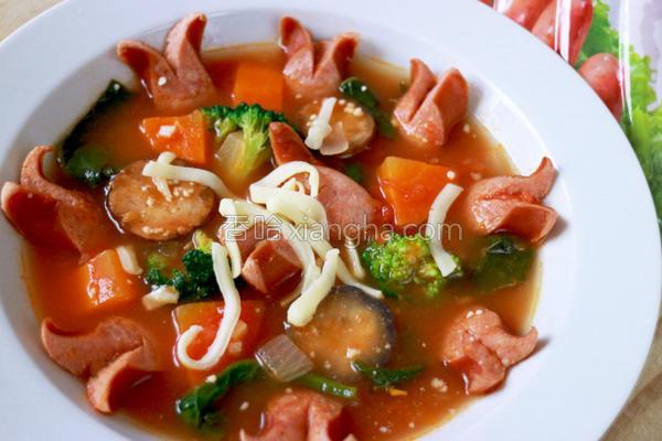 意式香肠蔬菜汤的做法