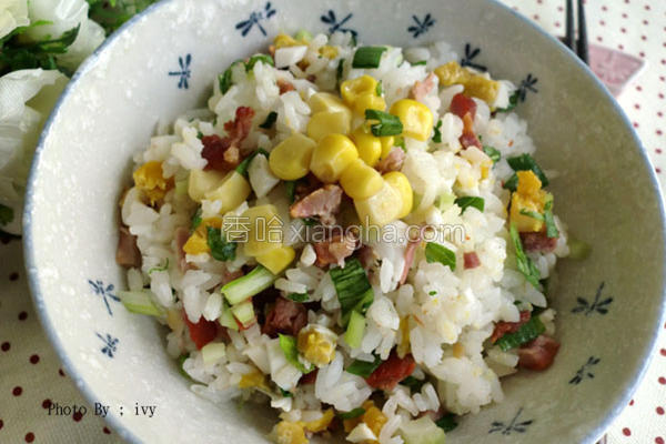 叉烧咸蛋青江菜饭的做法