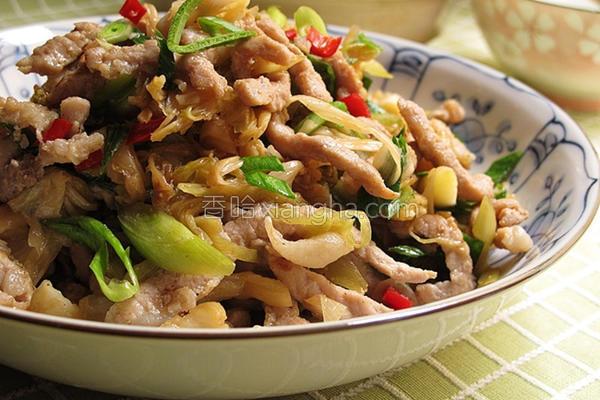 高丽菜干炒肉丝的做法